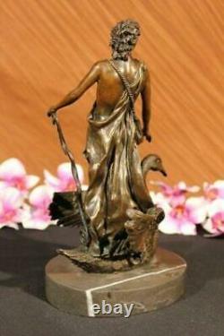 Signé Bronze Sculpture Chair Mâle Mythologie Art Détaillé Statue Sur Marbre Base