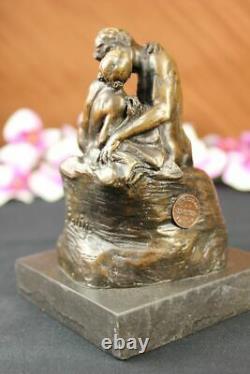 Signé Bronze Sculpture Français Rodin The Bisou Classique Statue Sur Marbre