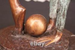 Signé Bronze Statue Art Déco Gymnaste Sculpture Sur Marbre Base Figurine Artwork