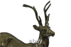 Signé Bronze Villanis Buck Mâle Renne Chasse Cerf Sculpture Marbre Base Figurine