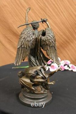 Signé Carpeaux Bon vs Evil Ange Frappe Diable Bronze Marbre Sculpture Statue