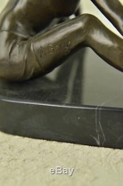 Signé Chair Érotique Femme Bronze Marbre Figurine Statue Sculpture Art Déco