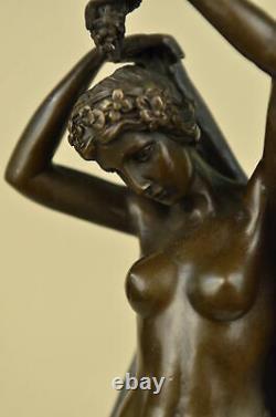 Signé Chair Femme Avec Ange Bronze Statue Art Déco Chaud Fonte Marbre Figurine