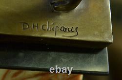 Signé Chiparus Charmant Danseuse Bronze Marbre Statue Sculpture 24 Figurine
