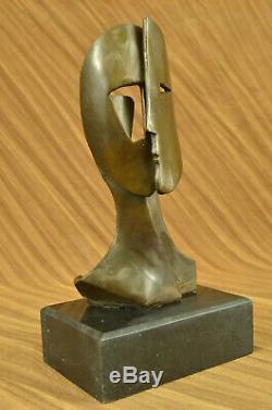 Signé Cubism Deux Visage Abstrait Marbre Base Sculpture Moderne Art Figurine