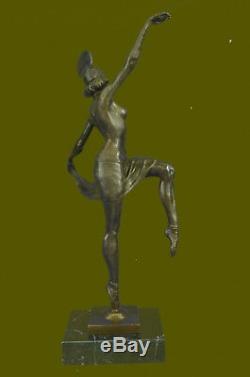 Signé Décor Russe Danseuse Art Déco Bronze Sculpture Marbre Base Statue Solde