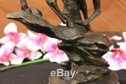 Signé Élan Enterrement Vie Garçon Renne Buck Chalet Faune Art Bronze Marbre Déco