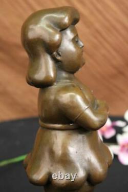 Signé Fernando Botero Jeune Fille Bronze Sculpture Sur Marbre Base Moderne D Lrg