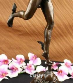 Signé Giambologna Flying Mercury Bronze Marbre Sculpture Statue Art Déco Décor
