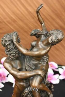 Signé Giambologna Viol De The Sabine Femme Bronze Marbre Base Mythique Figurine