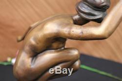 Signé Gory Superbe Nudiste Bronze Marbre Base Statue Décoratifs Figur