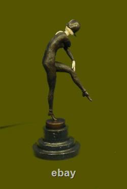 Signé H Chiparus Napoléon Danseuse Bronze Marbre Statue Sculpture Figurine Solde
