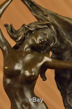 Signé Haut Aldo Vitaleh Art Déco Bronze Chair Fille Marbre Socle Statue