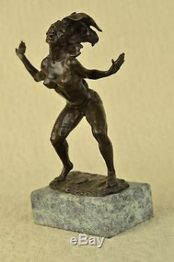 Signé Italien Artiste Vitaleh Ouest Art Bronze Marbre Allure Chair Belle Statue