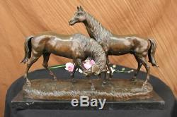 Signé L. Carvin Chevaux en Amour Bronze Sculpture Marbre Base Figurine Décor