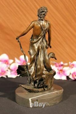Signé M. LOPEZ Leda And The Cygne Bronze Marbre Statue Mythique Grec Décoratif