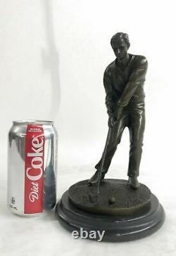 Signé M, Lopez Golfeur Golf Trophy Jeu Sport Bronze Sculpture Marbre Base Solde