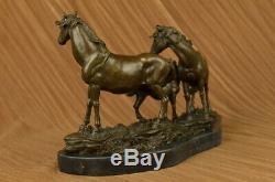 Signé Mene 3 Debout Chevaux Marbre Base Figurine Bronze Sculpture Statue Solde