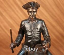 Signé Mene Français Soldat sur Un Cheval Bronze Marbre Base Sculpture Statue
