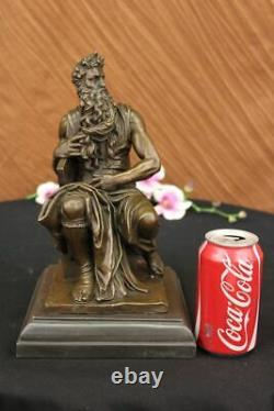 Signé Michelangelo Biblique Moïse Bronze Sculpture Juif Marbre Figurine Cadeau