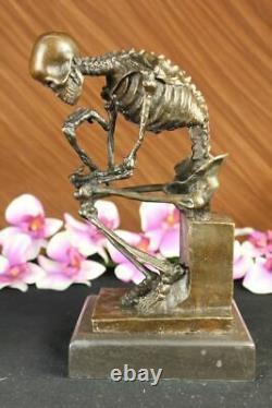 Signé Milo Squelette Thinkker Tribute Pour Rodin Bronze Sculpture Statue Marbre