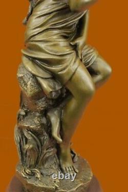 Signé Moreau, Bronze Statue Femelle Chair Ange Art Déco Marbre Figurine Décor