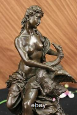 Signé Moreau Leda And The Cygne Bronze Marbre Statue Mythique Grec Sculpture Nr