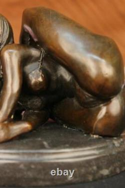 Signé Nu Érotique Femme Bronze Marbre Figurine Statue Sculpture Art Décor