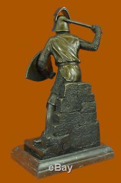 Signé Original Kamiko Japonais Samurai Warrior Bronze Marbre Sculpture Lourd