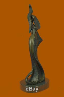 Signé Original Kassin Un Hommage Pour Erte Bronze Sculpture Marbre Figurine Déco