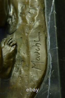 Signé Original Mavchi Oral Pleasure Masterpiece Bronze Sculpture Marbre Statue
