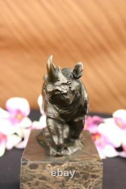Signé Original Milo Rhinocéros Serre-Livre Bronze Marbre Sculpture Statue Décor