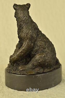Signé Original Noir Ours Mère Ouest Art Bronze Marbre Statue Sculpture Art