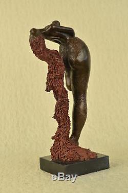 Signé Original Style Botero Africain Fille Bronze Marbre Sculpture Statue Décor