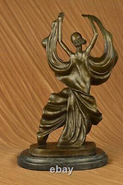 Signé Original Tango Dancer Spéciale Patine Bronze Marbre Base Sculpture Décor