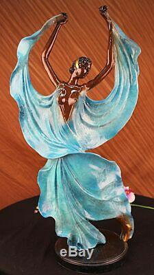 Signé Original Tango Danseuse Bleu Patine Bronze Marbre Base Sculpture Hot Fonte