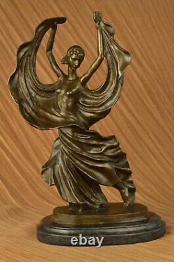 Signé Original Tango Danseuse Spécial Patine Bronze Marbre Base Sculpture Statue