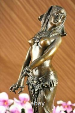 Signé Original Vitaleh Égyptien Qui Aime Femelle Bronze Sculpture Marbre Statue