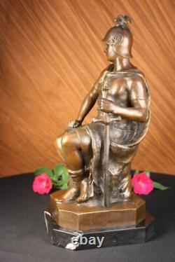 Signé Picault Romain Legion Soldat Warrior Bronze Marbre Sculpture Statue Cadeau