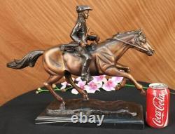 Signé Pj Mene Artisanal Bronze Soldat Cheval Sculpture Marbre Figurine