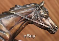 Signé Pj Mene Artisanal Bronze Soldat Cheval Sculpture Marbre Figurine Décor
