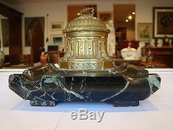Signé Rambaud, fondeur Susse frères, encrier en bronze, socle marbre #122#