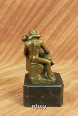 Signé Rodin Bisou Romance Amour Amoureux Bronze Marbre Sculpture Figurine Maison
