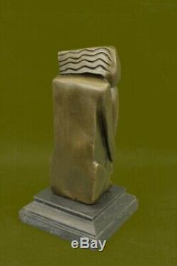 Signé Salvador Dali Abstrait Femme Bronze Marbre Base Figurine Fonte Figurine