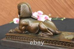 Signé Vintage Mythologique Creature Sphinx Égyptien Art Déco Marbre Sculpture