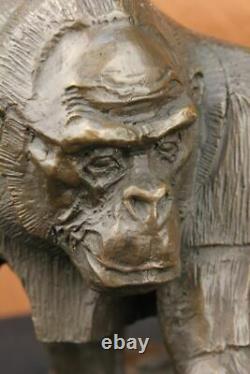 Signé Vobisova Femelle Gorilla Bronze Marbre Sculpture Hot Fonte Art Déco Figure