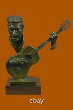 Signé Williams Abstrait Homme Jouer Guitare Bronze Buste Sculpture Marbre Figure