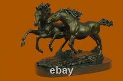 Signé Zhang Deux Course Chevaux Bronze Sculpture Marbre Base Statue Art Fonte