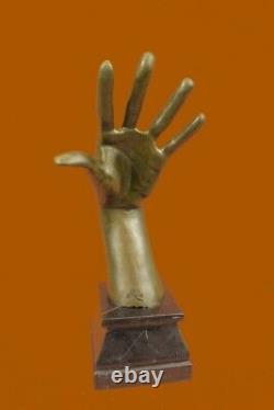 Signée Abstrait Murs Avoir Oreilles Main Sculpture Marbre Figurine Base Art
