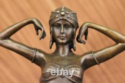 Signée Art Déco Chiparus Ventre Danseuse Marbre Affaire Bronze Sculpture Statue